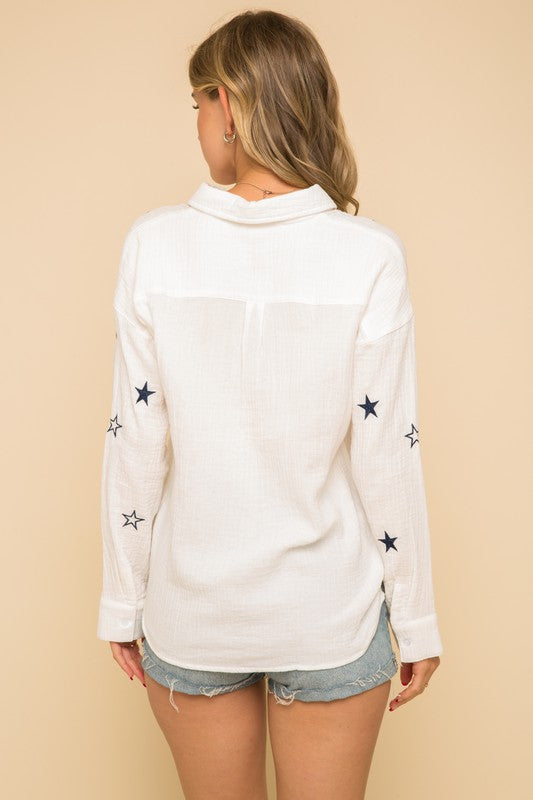 STAR EMBROIDERED BUTTON DOWN TEXTURE SHIRT