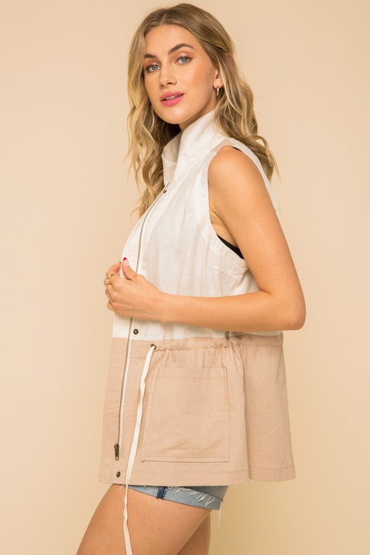 LINEN COLOR BLOCK UTILITY VEST WITH POCKETS