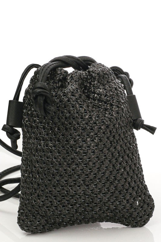 Straw Braided Drawstring Crossbody Bag