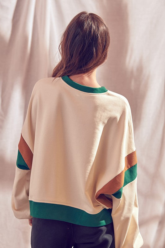 COLOR BLOCK PULLOVER SWEATSHIRT