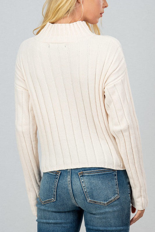 RIB KNIT MOCK NECK DROP SHOULDER TOP