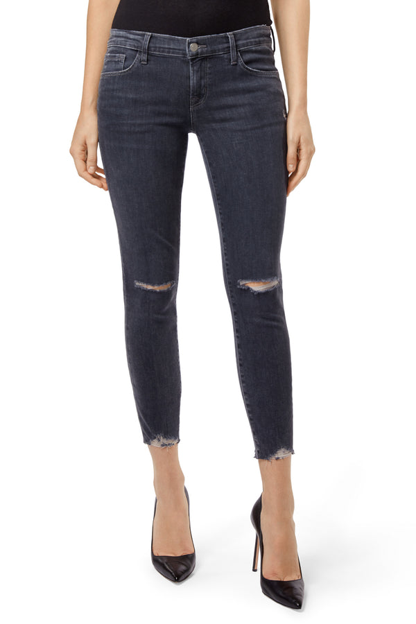 j brand, denim, womens denim, womens, cropped, suede, skinny, highrise, knee rips