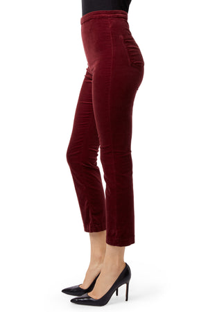 J BRAND Natalie High-Rise Cropped Straight In Oxblood Velveteen