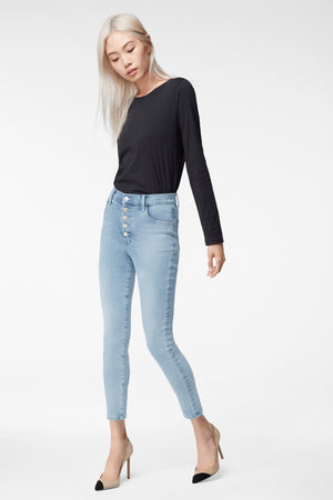j brand, denim, womens denim, womens, blue, high rise, skinny, highrise, light blue, spring, spring jeans, spring denim
