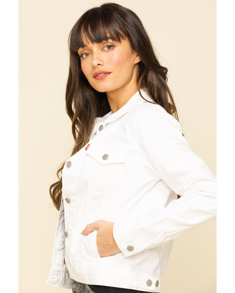 LEVI'S WOMEN'S WHITE DENIM TRUCKER JACKET