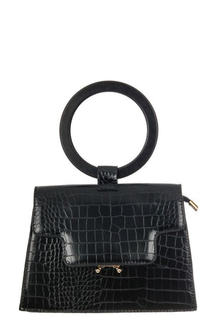 FAUX ALLIGATOR SKIN TOP HANDLE BAG IN BLACK