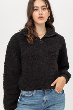 HALF ZIP MOCK NECK BRUSHED SHERPA PULL OVER