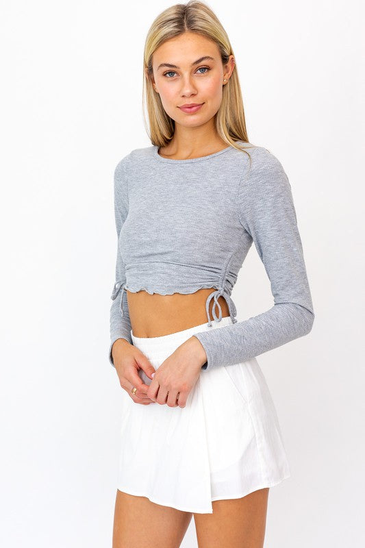 RUCHED LONG SLEEVE KNIT CROP TOP