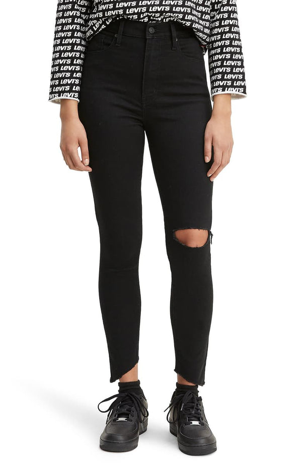PREMIUM MILE HIGH RIPPED SUPER SKINNY JEANS IN BLACK