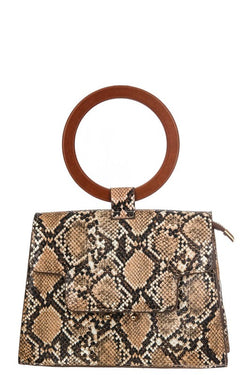 FAUX SNAKE SKIN TOP HANDLE BAG