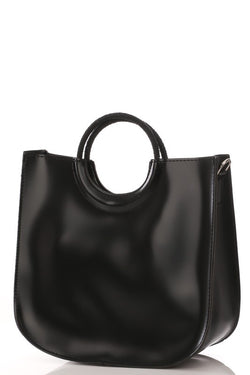 FAUX LEATHER SQUARE HANDBAG