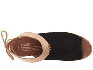 toms shoes, toms, high heels, block heels, heels, summer shoes, shoes, womens shoes, womens, black, tan, suede, cutout sandal, sandal, tassles