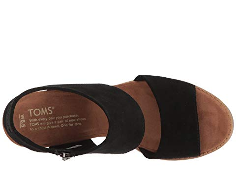 toms shoes, toms, high heels, block heels, heels, summer shoes, shoes, womens shoes, womens, black, tan, suede, cutout sandal, sandal