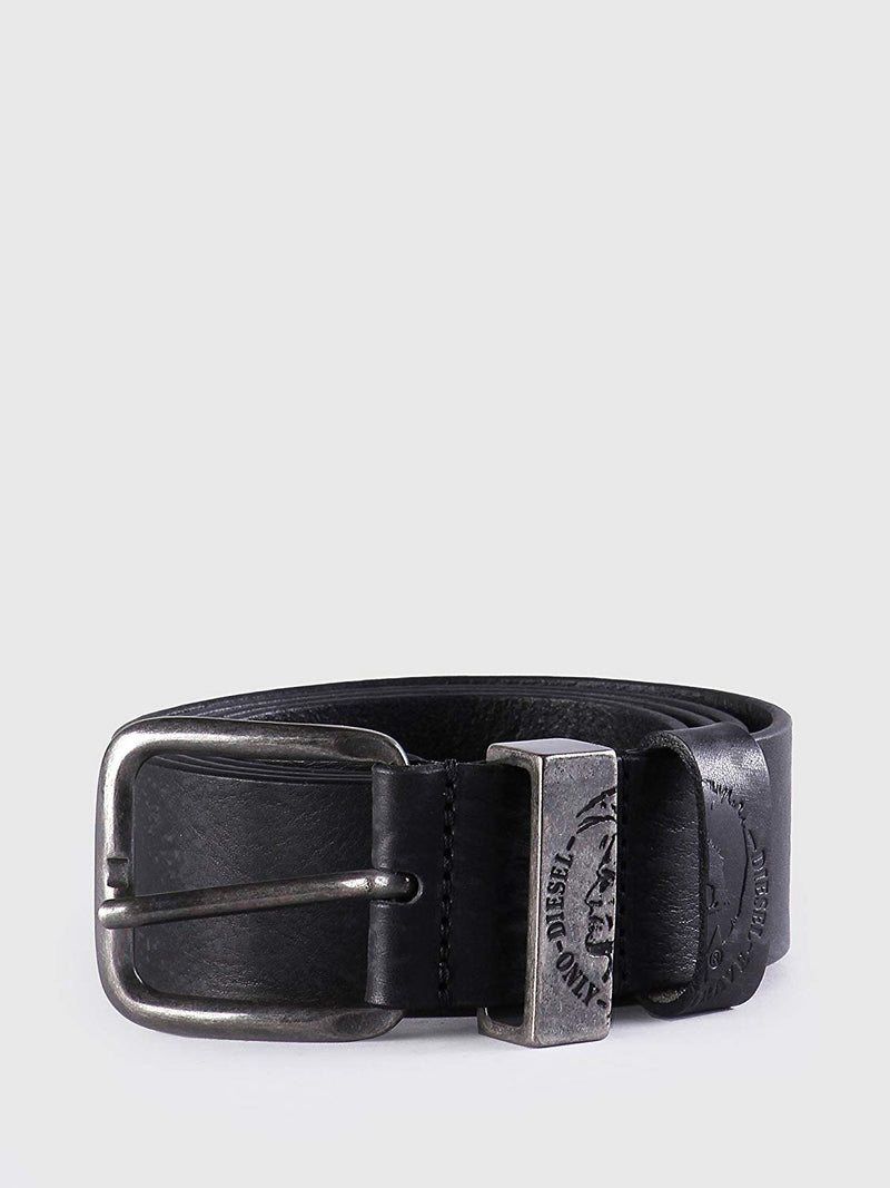 belt, diesel, men, silver buckle, black