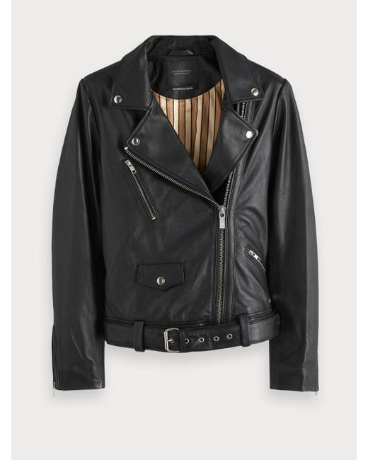 scotch and soda, scotch and soda womens, womens tops, tops, womens, leather jacket, biker jacket, womens leather jacket, black leather jacket