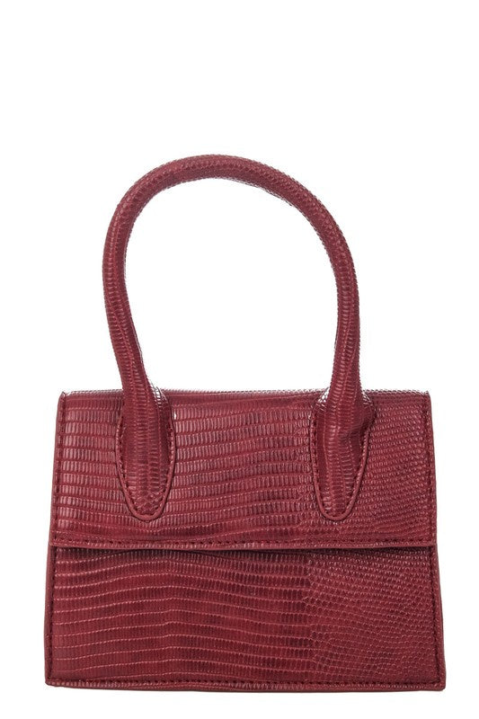 FAUX ALLIGATOR SKIN HANDBAG