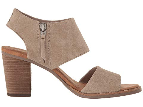 toms shoes, toms, high heels, block heels, heels, summer shoes, shoes, womens shoes, womens, taupe, tan, suede, cutout sandal, sandal