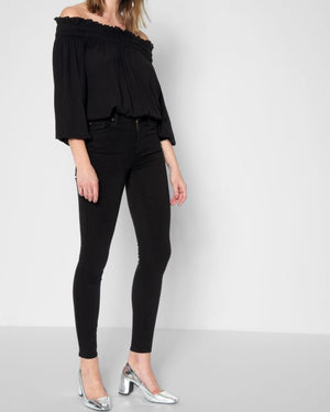 Seven for All Mankind B(air) Denim High Waist Skinny in Black