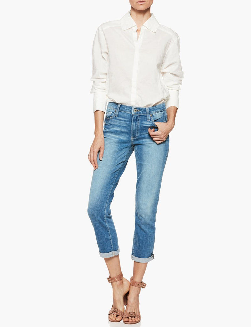 paige womens, womens, paige denim, paige tops, tops, button up, womens tops, cotton, white, french cuff, clemence shirt