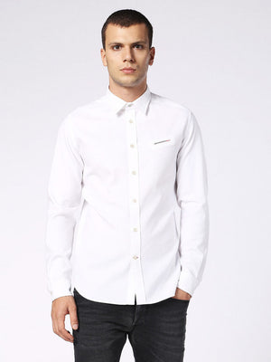 button up, diesel mens shirt, men, cotton, oxford, white
