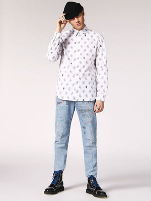 diesel, mens, diesel men, button up, white, cotton