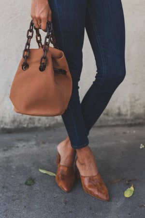 FAUX LEATHER FASHION BUCKET BAG