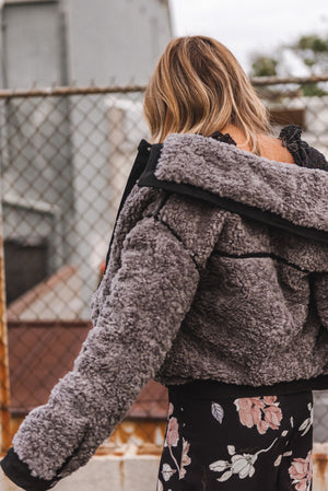 Grey Shearling Piping Jacket