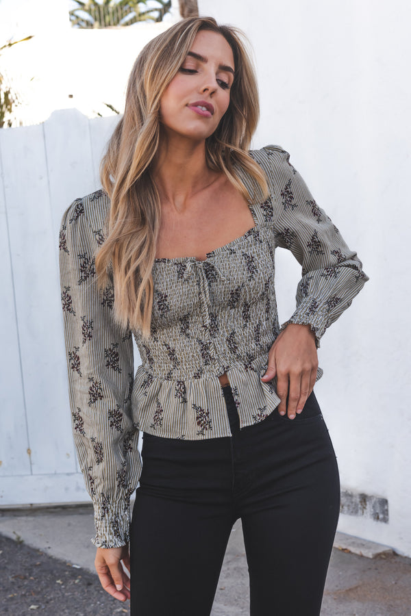 Vintage Floral Smocked Lace Up Blouse