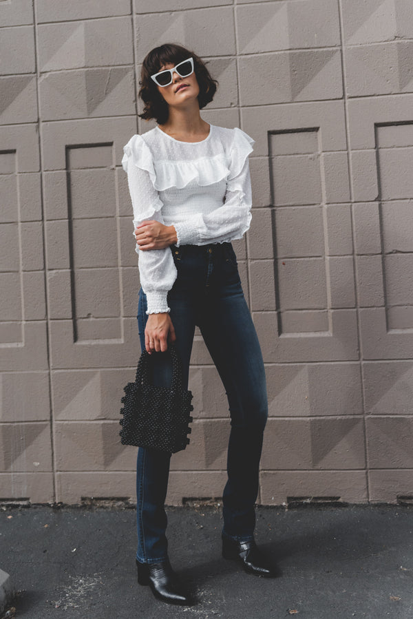 SMOCK RUFFLE CROP TOP