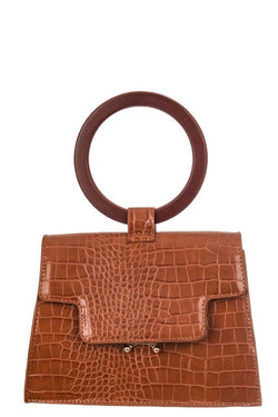 FAUX ALLIGATOR SKIN TOP HANDLE BAG