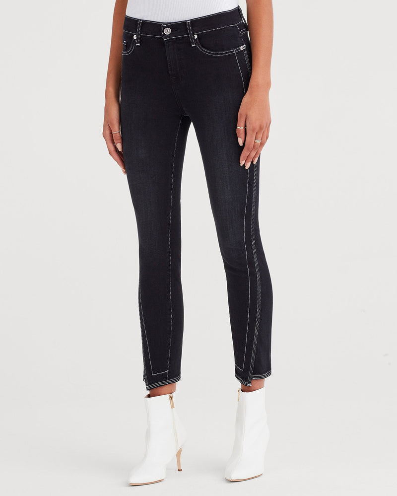 Seven's Ankle Skinny with Spliced Hem and White Stitching in Black Sateen