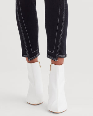 Ankle Skinny with Spliced Hem and White Stitching in Black Sateen