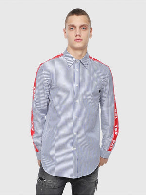 Diesel S-NORI Striped shirt with logo-trims