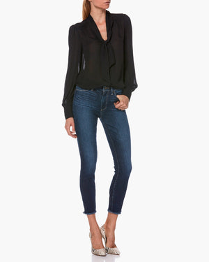 PAIGE Hoxton Ankle High Rise Skinny In Ankle Heavy Fray Tarin
