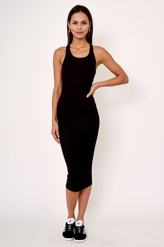 Ribbed Racerback Bodycon Dress