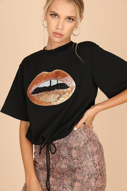 SEQUINED LIPS PRINT T-SHIRT
