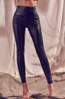 HIGH RISE FAUX LEATHER BLACK LEGGINGS