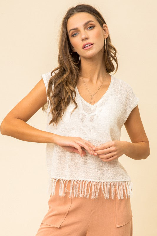 X DETAILED FRINGE HEM PULLOVER TOP