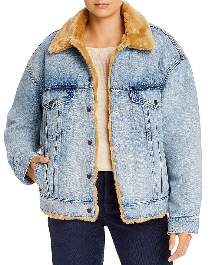 Oversized Reversible Faux Fur Trucker Tan Sherpa Jacket