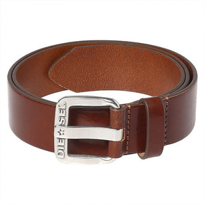 diesel belt, belt, brown, mens belt, men, silver buckle