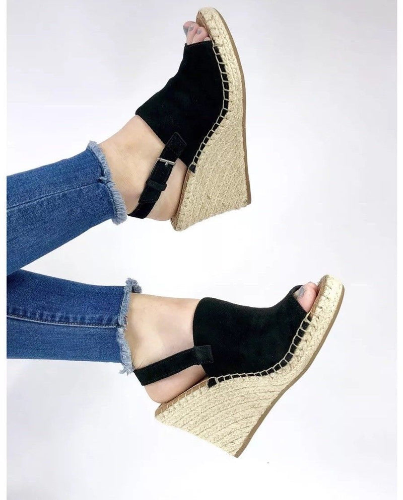 toms shoes, toms, high heels, wedges, heels, summer shoes, shoes, womens shoes, womens, black, tan, suede, cutout sandal, sandal
