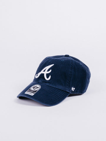 cheaper 9a0fe 8307e 47 CLEAN UP Atlanta Braves Dad Hat Navy