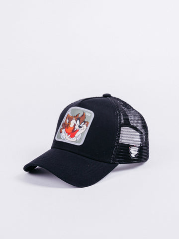 gorra capslab looney tunes taz trucker brown black demonio de tazmania