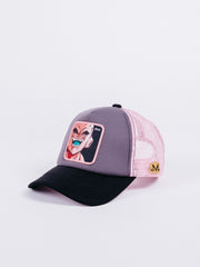 gorra capslab trucker dragon ball z buu grey black pink visera curva bola de dragon parche