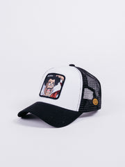gorra Capslab dragon ball z mr satan trucker black white trasera