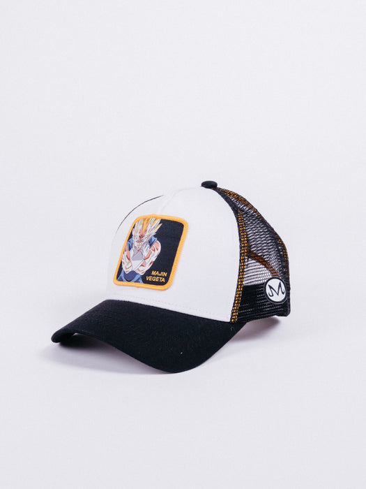 gorra capslab dragon ball z majin vegeta trucker white black visera curva bola de dragón
