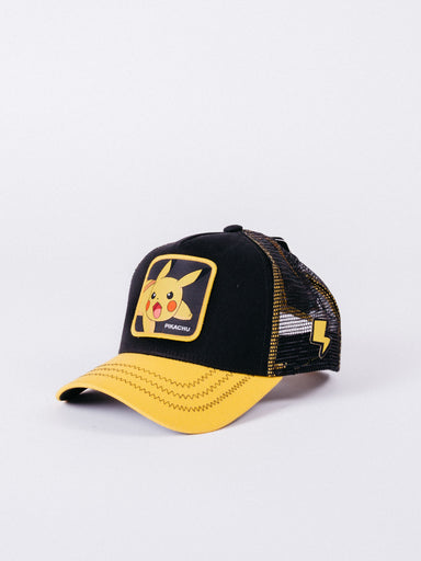 gorra Capslab Pokemon Pikachu Trucker Black/Yellow visera curva ajustable