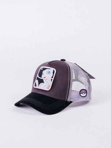 gorra Capslab Pokemon Mew Trucker Black/Brown/Grey visera curva ajustable