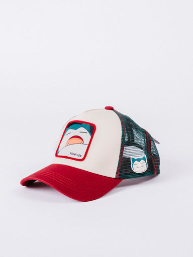 gorra Capslab Pokemon Snorlax Trucker Beige/Red/Green visera curva ajustable