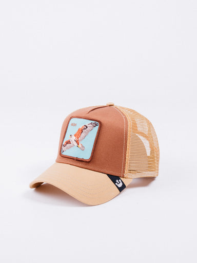 gorra Goorin Bros High In The Sky Trucker Brown rejilla animales parche ajustable